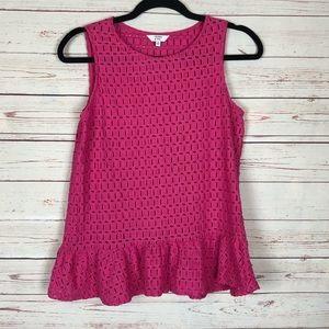 Crown & Ivy Pink Peplum Top Size XS